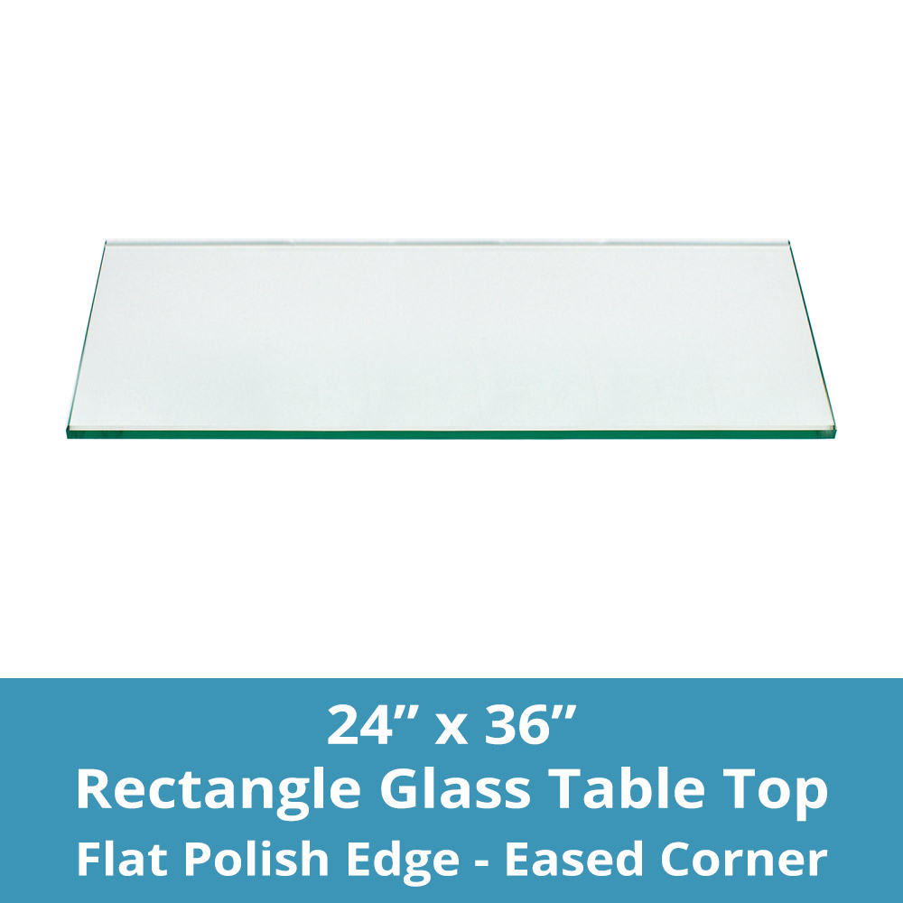 1//4 Thick TroySys Glass Table Top: 36 Length Flat Edge Tempered Glass